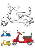 Scooter Vector Illustration in 3 different colors — Stock Vector