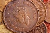 Stare monety indyjskiej waluty - jedna czwarta anna — Zdjęcie stockowe