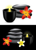 Spa hot stones, flower and candle - vector ilustration — Stock Vector