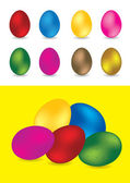Set of colorful easter eggs - vector illustrations — Stock Vector