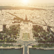 Vintage Aerial view on Trocadero from the Eiffel tower — Stock Photo