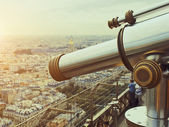 Telescope on top floor of Eiffel Tower in Paris — Stock Photo
