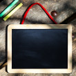 Kid Chalkboard on Grunge Wooden Table — Stock Photo