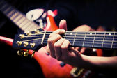 Musicians playing Guitar and Bass — Stock Photo