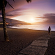 Sunset in Playa Jardin, Puerto de la Cruz, Tenerife — Stock Photo
