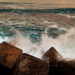 Stock Photo: Waves Breaking on Abstract Dike