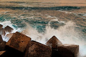 Waves Breaking on an Abstract Dike — Stock Photo