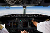 Pilots Working in an Aeroplane — Stock Photo
