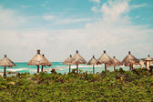 Palapa sun roof beach umbrellas in Caribbean Sea — Stock Photo
