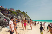Enjoying in Tulum Beach — Stock Photo