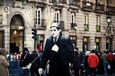 Street Performer Dressed as Charlie Chaplin — Stock Photo