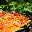 Cooking Traditional Paella Outdoors — Stock Photo