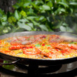 Cooking Traditional Paella Outdoors — Stock Photo #23896347