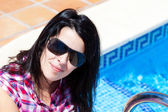 Young Happy Casual Woman in the Swimming Pool — Stock Photo