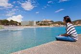 Girl Looking at Paguera Beach, Mallorca — Stock Photo