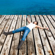 Woman Resting in a Dock — Stock Photo