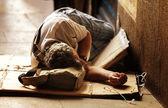Unrecognizable Homeless Sleeping — Stock Photo