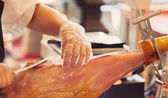 Cutting Curated Ham — Stock Photo