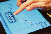 Analyzing Financial Data on a Tablet Screen — Stock Photo