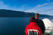 Mid Adult Couple Staring at the Beautiful Naeroyfjord — Stock Photo