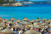 People sunbathing at Paguera Beach, Majorca, Spain — Stock Photo