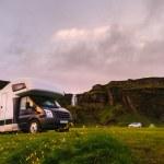Mobile Home in a Scenic Icelandic Campsite — Stock Photo #50539875