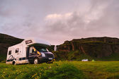 Mobile Home in a Scenic Icelandic Campsite — Stock Photo