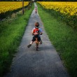 Young girl and boy outdoors on bicycles — Stock Photo