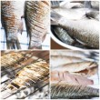 Collection of fishes on grill — Stock Photo
