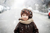 Winter closeup portrait of a cute little boy — Stock Photo