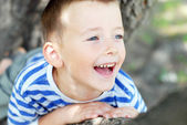 Little boy sitting on the tree — Stock Photo
