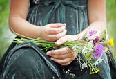 Child hand with wild flowers — Stock Photo