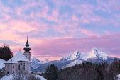 Watzmann at sunset with church, Bavaria, Berchtesgaden, Germany Alps — Stock Photo