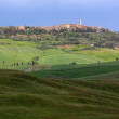Skyline of Pienza with clouded sky, Val d'Orcia, Tuscany, Italy — Stock Photo