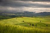 Tuscany landscape with farm near Pienza, Italy — Stock Photo