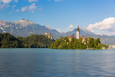 Lake Bled with Bled island, Slovenia — Stock Photo