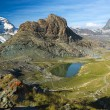 Panorama in Swiss Alps with Rifelsee and Matterhorn, Switzerland — Stock Photo