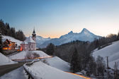 Maria Gern Church in Bavaria with Watzmann, Berchtesgaden, Germany Alps — Stock Photo