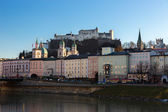 Fortress Hohensalzburg and Salzach River, Salzburg, Austria — Stock Photo