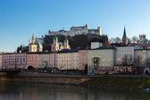 Fortress Hohensalzburg and Salzach River, Salzburg, Austria — Stock Photo