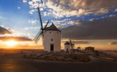 Windmills at sunset, Consuegra, Castile-La Mancha, Spain — Stock Photo