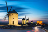 Windmills after sunset, Consuegra, Castile-La Mancha, Spain — Stock Photo