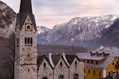 Protestant church of Hallstatt, Salzkammergut, Austrian Alps — Stock Photo