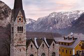 Protestant church of Hallstatt, Salzkammergut, Austrian Alps — Stock Photo