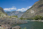 Mountain landscape. Mountain river. Mountain Altai. — Stock Photo
