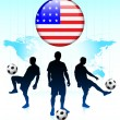 United States Flag Icon on Internet Button with Soccer Team — Stock Vector #6509682