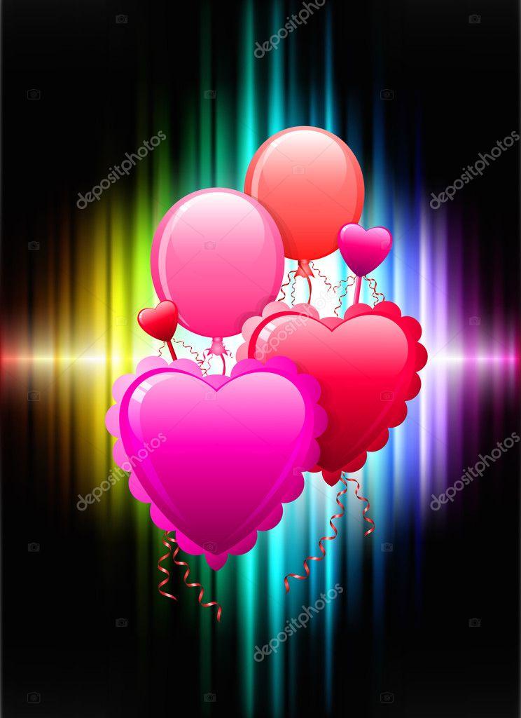气球心在抽象光谱背景 — 图库矢量图片 #6509727
