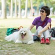 A lady with a dog — Stock Photo