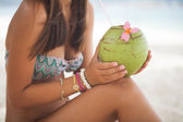 Woman with coconut — Stock Photo