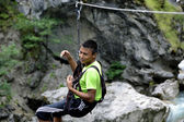 The climber in mountains — Stock Photo